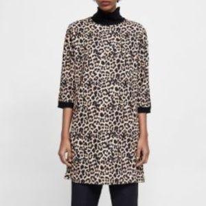 Sara Animal Print Sheath Dress. Black Accents